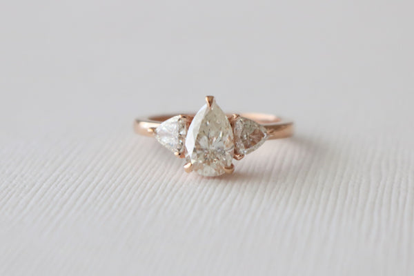 Pear And Trillion Cut Diamond 3 Stone Ring in 14K Rose Gold