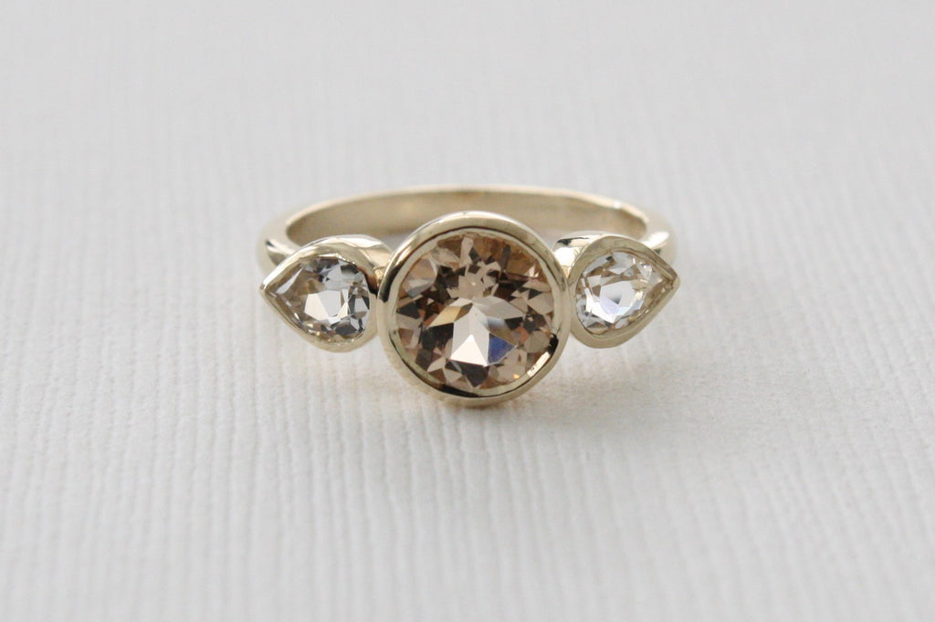 Morganite And White Topaz 3-Stone Bezel Ring in 14K Yellow Gold