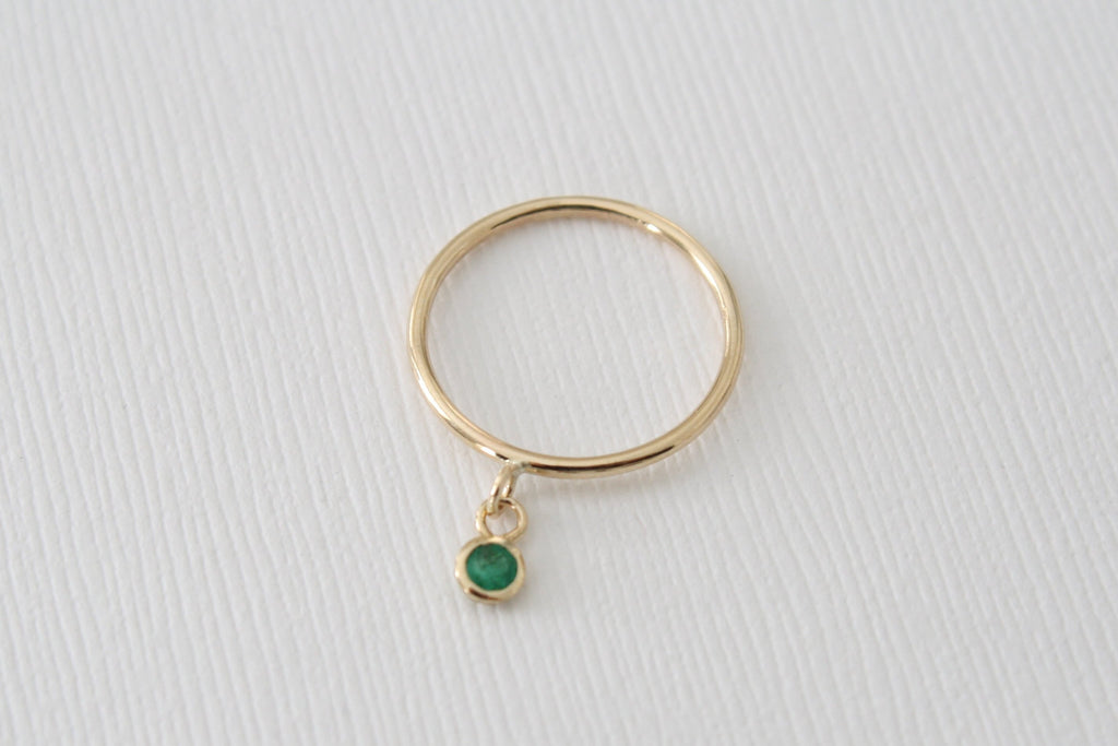 May Birthstone Emerald Dangle Ring in 14K Solid Gold