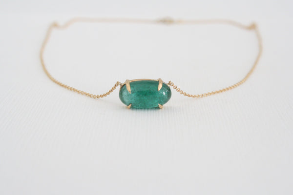 4.37 Ct. Emerald Cabochon Solitaire Necklace in 14K Yellow Gold