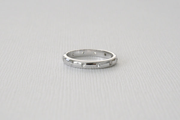 White Sapphire Eternity Wedding Band in 14K White Gold