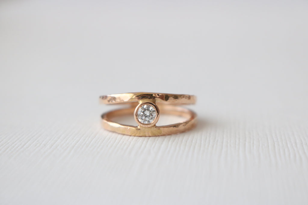 Split Shank Bezel Diamond Ring in 14K Rose Gold