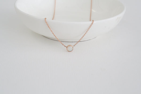 Solitaire Fiery Opal Bezel Necklace in 14K Rose Gold