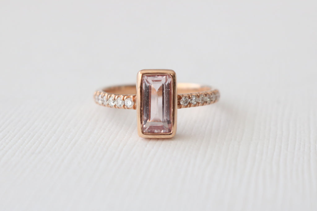 Champagne Pink Emerald Cut Sapphire Diamond Bezel Ring in 14K Rose Gold
