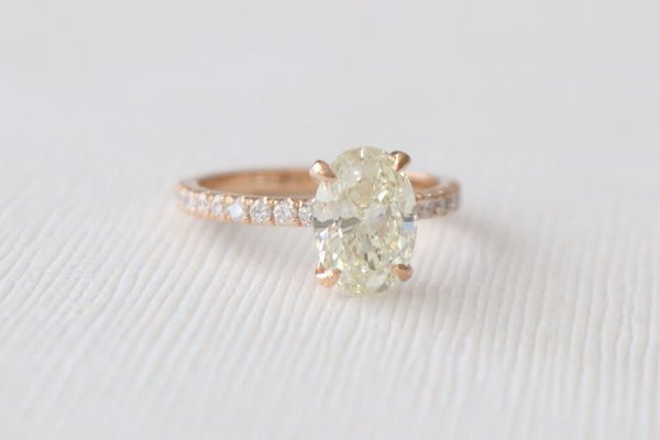 Certified Oval Diamond  Engagement Ring in 18K Rose Gold