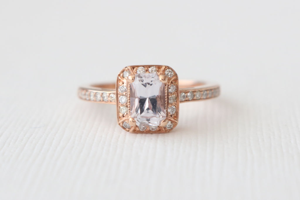 Peach Champagne Radiant Cut Sapphire Diamond Halo Ring in 14K Rose Gold