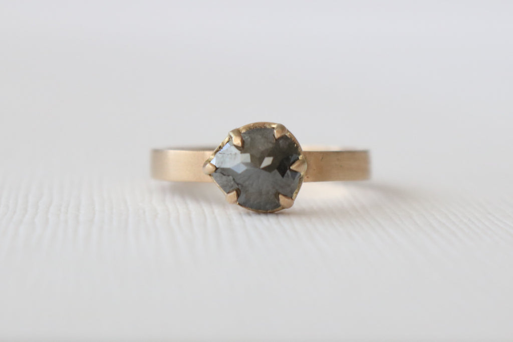 Pear Rose Cut Black Diamond Solitaire Ring in 14K Matte Finish Yellow Gold