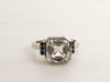 Asscher Cut White Sapphire Bezel Ring in 14K White Gold
