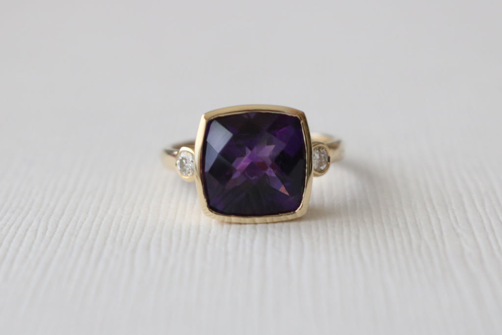 3 Stone Cushion Amethyst and Diamond Ring in 14K Yellow Gold