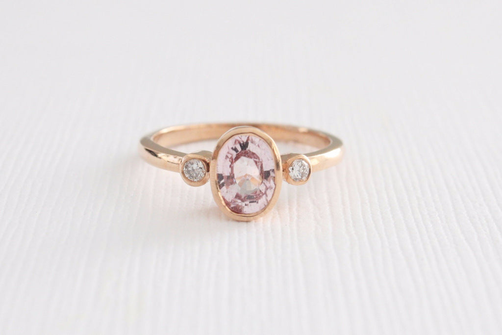 3 Stone Oval Pink Sapphire and Diamond Bezel Ring in 14K Rose Gold