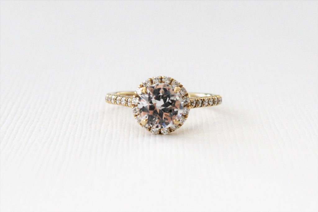 White Sapphire Round Halo Diamond Engagement in 14K Yellow Gold