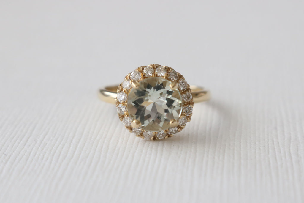 Green Amethyst Diamond Halo Ring in 14K Yellow Gold
