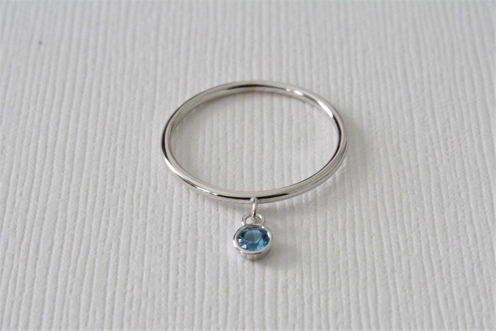 London Blue Topaz Bezel Dangle Ring in 14K Solid Gold
