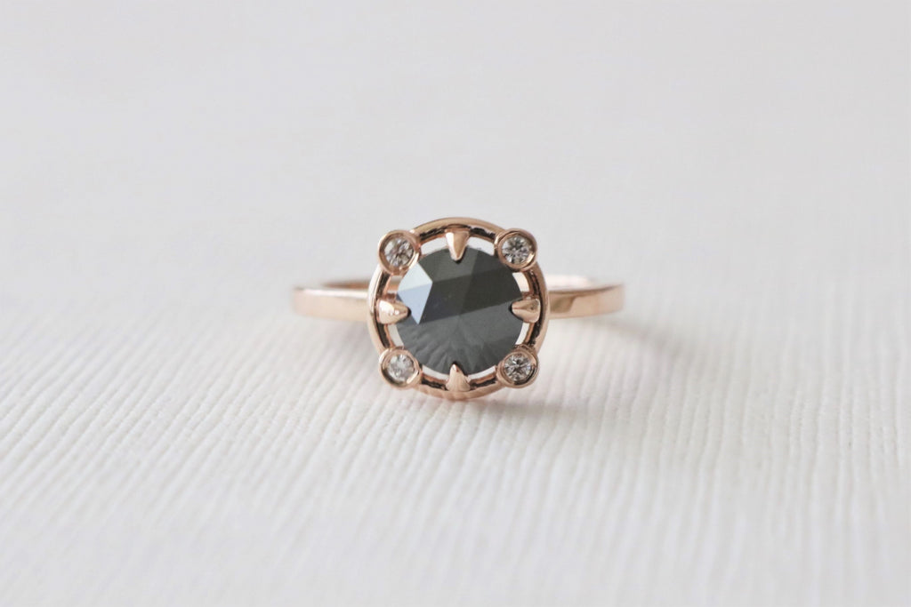 Black Rose Cut Diamond Bezel Ring in 14K Rose Gold