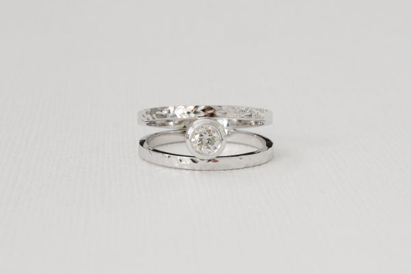 Split Shank Bezel Diamond Ring in 14K White Gold