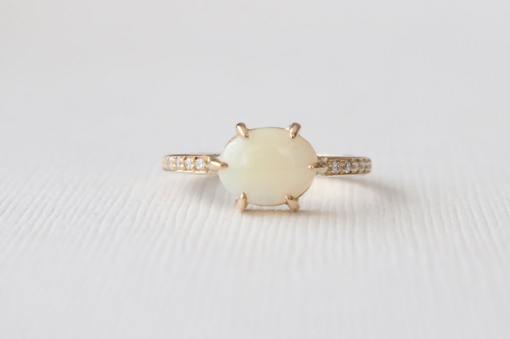 Oval Opal and Diamond Solitaire Ring in 14K Yellow Gold