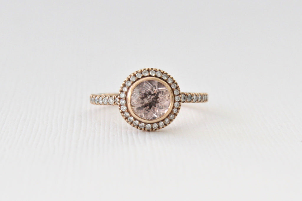 Peachy Pink Morganite Diamond Halo Ring in 14K Rose Gold