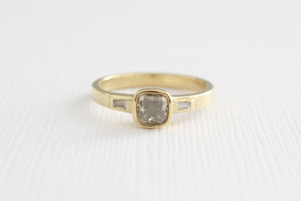 Cushion Champagne Diamond 3 Stone Baguette Bezel Ring in 14K Yellow Gold