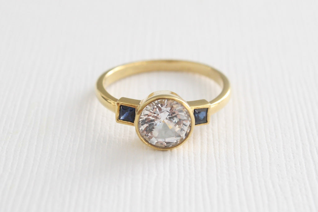 Certified 3 Stone White Sapphire Engagement Ring in 14K Yellow Gold