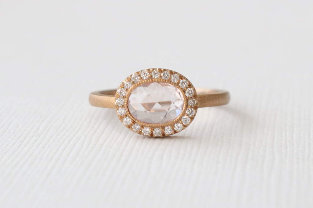 Oval Rose Cut Champagne Pink Sapphire Milgrain Bezel Halo Ring in 14K Rose Gold
