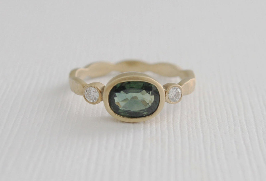 3 Stone Oval Green Sapphire and Diamond Bezel Ring in 14K Yellow Gold