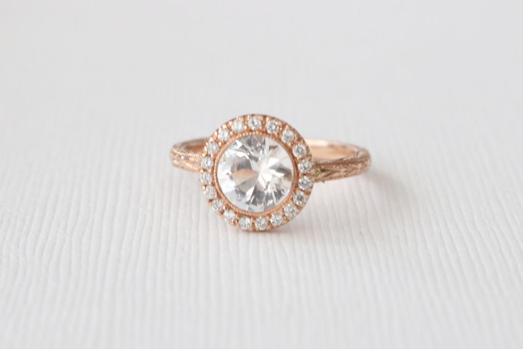 Hand Engraved White Sapphire Diamond Halo Engagement Ring in 14K Rose Gold
