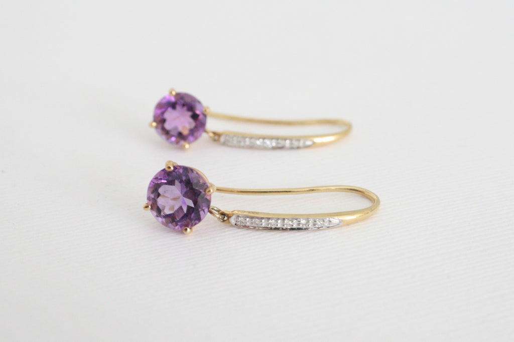 Amethyst and Diamond Dangle Earrings in 14K Gold