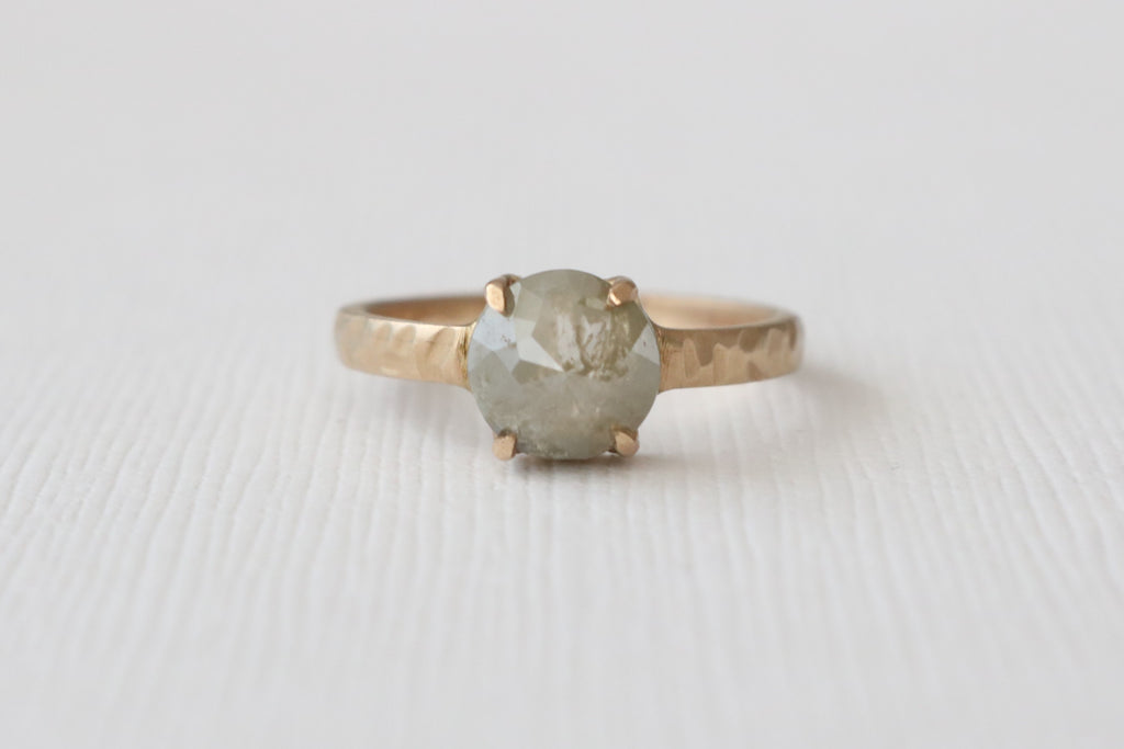 Matte Hammered Finish Rose Cut Gray Diamond Solitaire Ring in 14K Yellow Gold