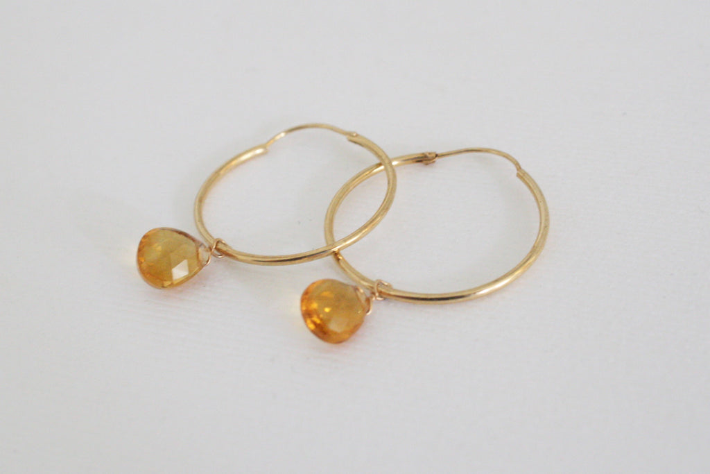 Golden Citrine Dangle Hoop Earrings in 14K Gold