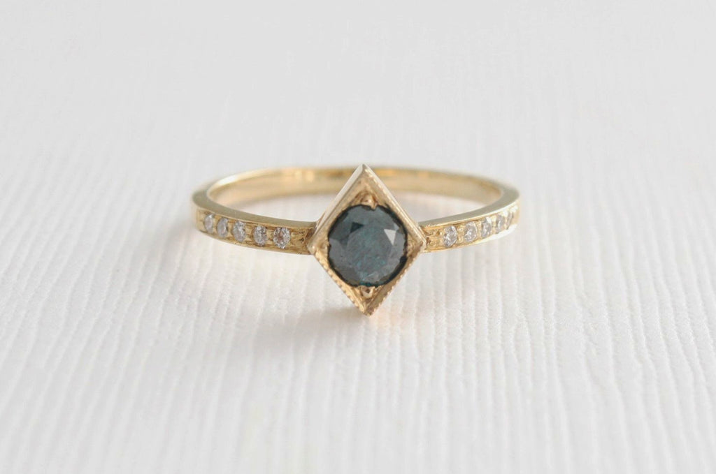 Blue Diamond Milgrain Bezel Ring in 14K Yellow Gold