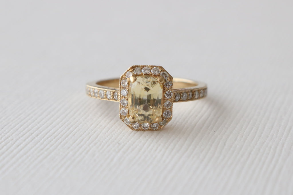 Cushion Cut Light Yellow Sapphire Milgrained Pave' Diamond Halo Ring in 14K Yellow Gold