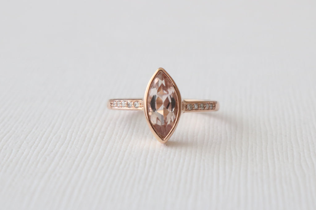 Marquise Peachy Pink Morganite Bezel Diamond Ring in 14K Rose Gold