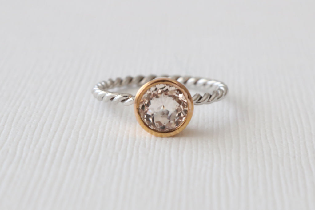 Peachy Pink Cor-de-Rosa Morganite Twist Ring in 14K 2 Tone Gold