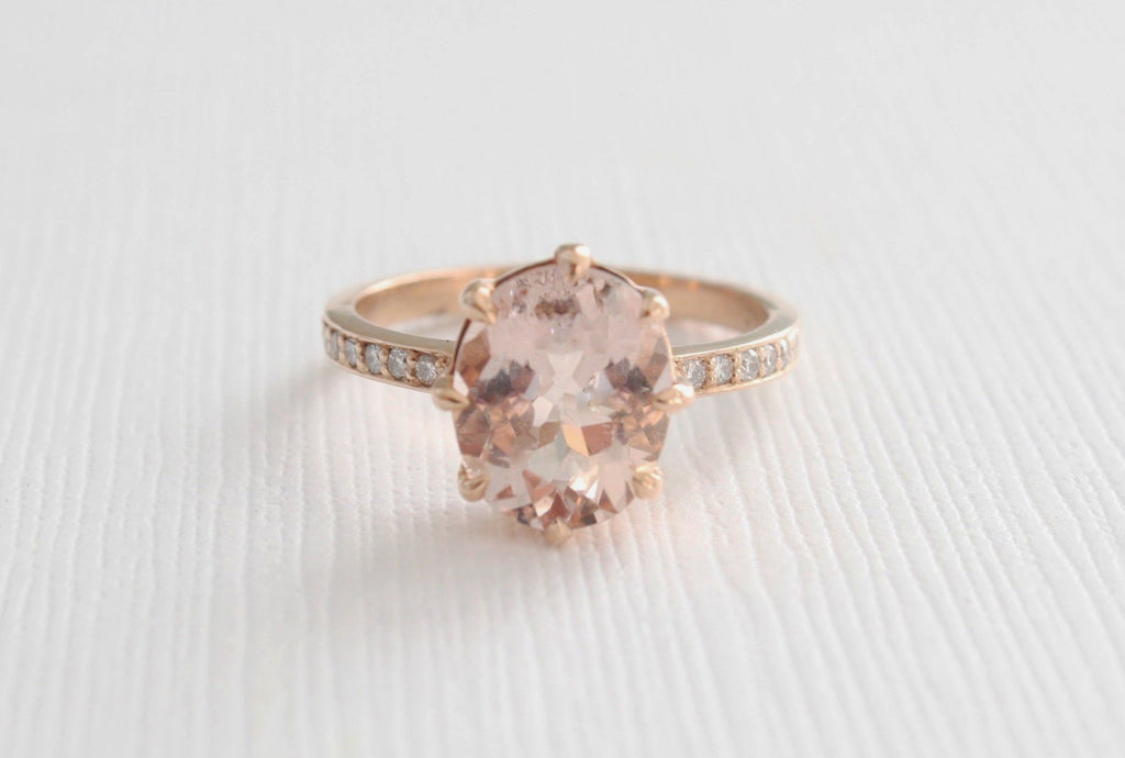 2.40 Cts.Oval Morganite Solitaire Diamond Engagement Ring in 14K Rose Gold