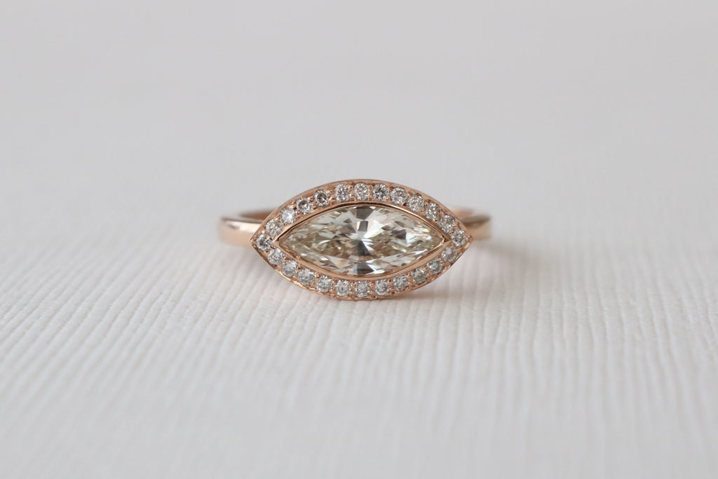 Certified Marquise Bezel Diamond Halo Ring in 14K Rose Gold