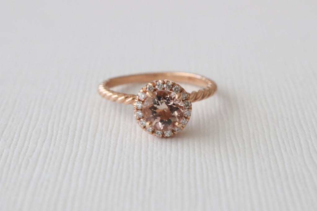 Round Morganite Diamond Halo Twist Petal Ring in 14K Rose Gold