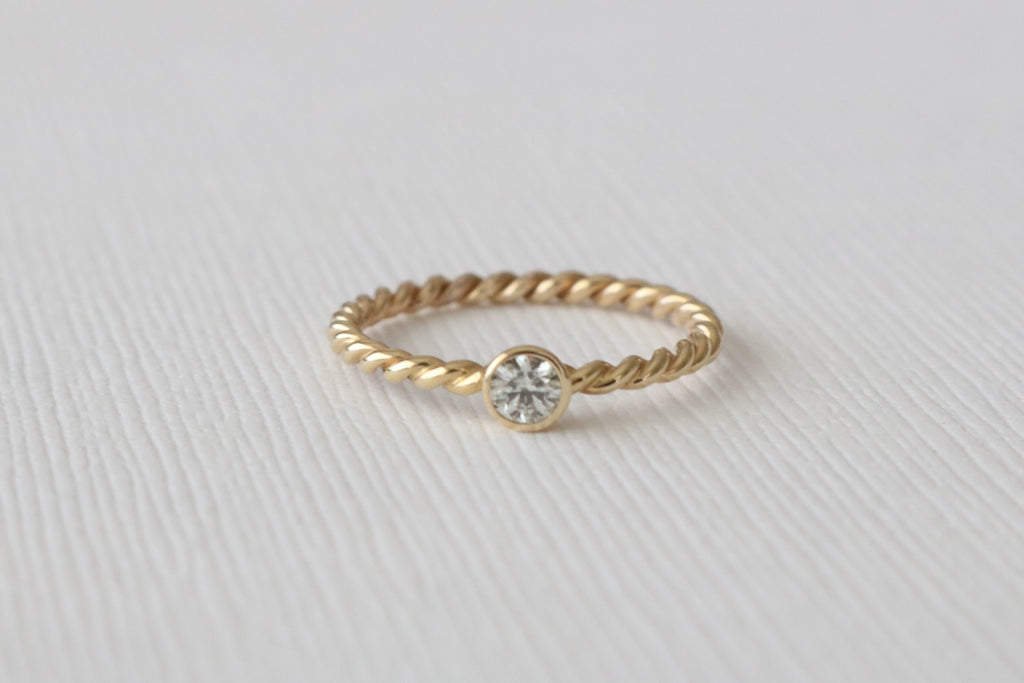 Set of 3 - Twist Stacking Diamond Rings in 14K Yellow Gold