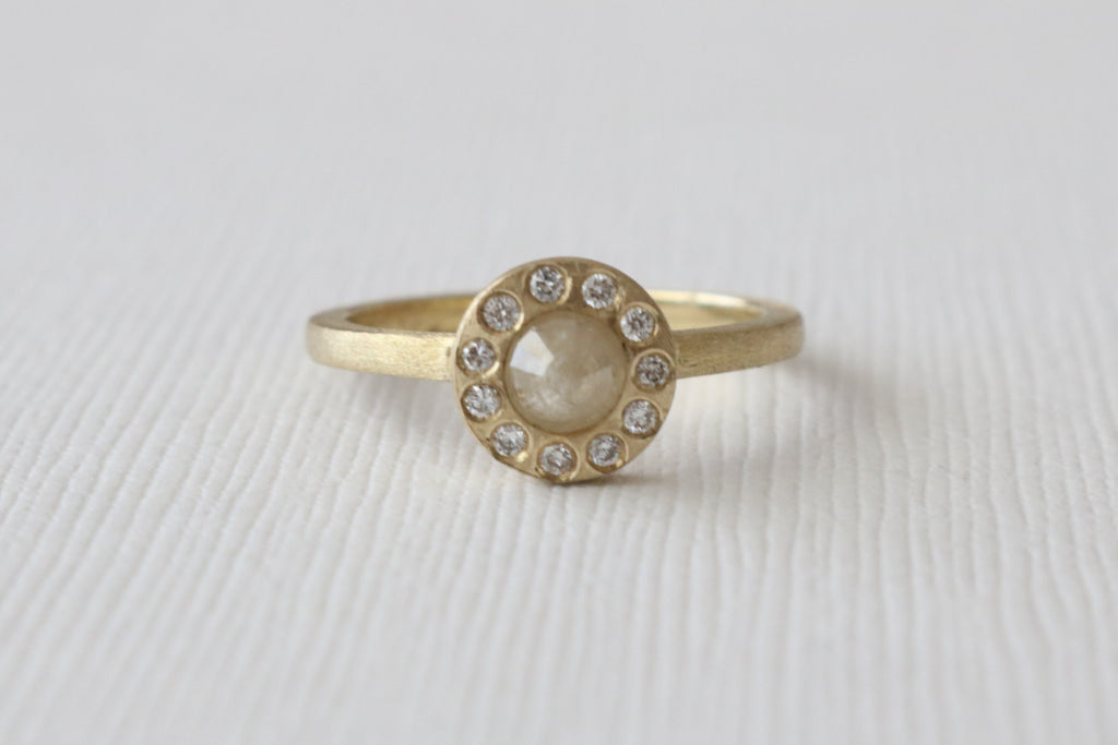 Rose Cut Gray Diamond Bezel Stacking Ring in 14K Yellow Gold