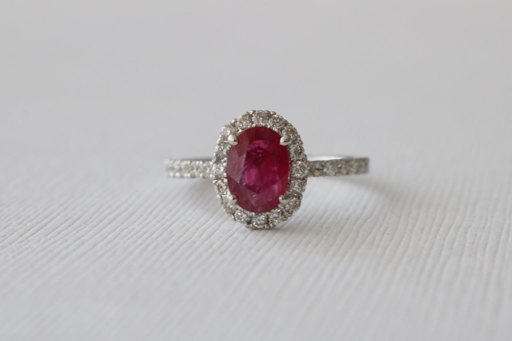 Oval Ruby Diamond Halo Engagement in 14K White Gold