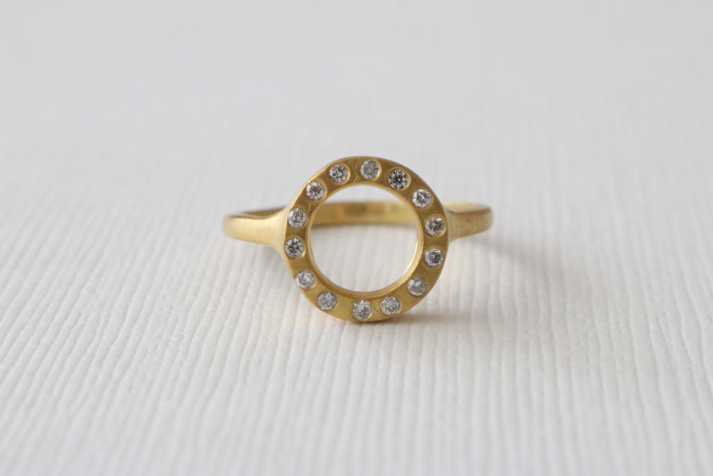 Open Disc Diamond Ring in 14K Yellow Gold