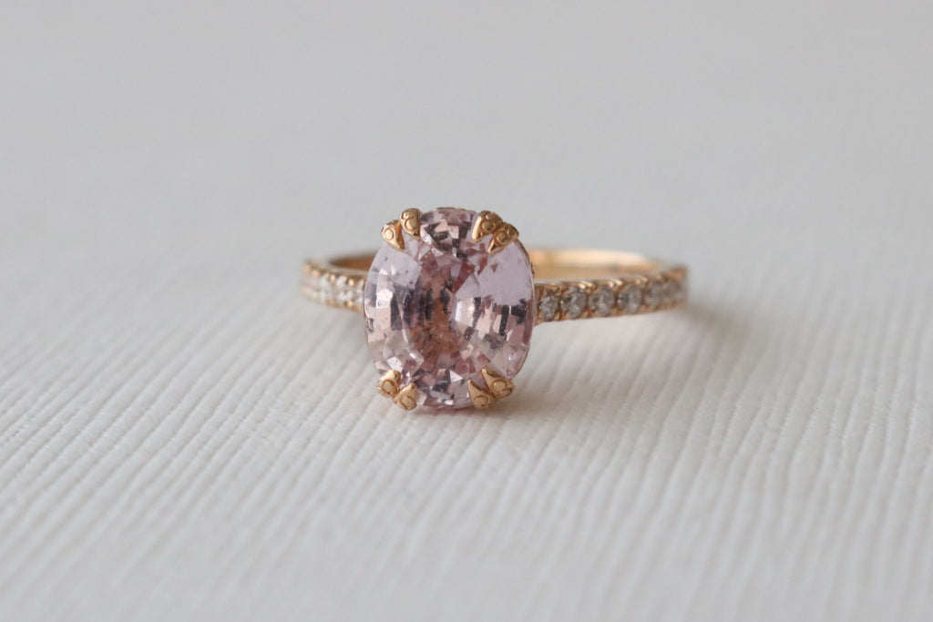GIA Certified Oval Pink Sapphire Solitaire Diamond Engagement Ring in 18K Rose Gold
