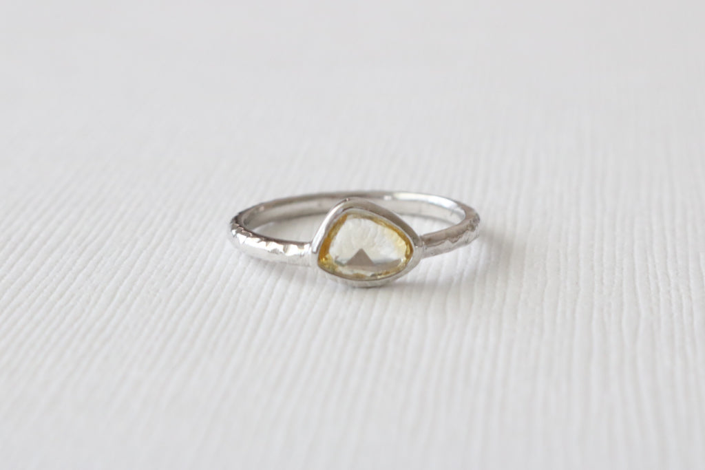 Rose Cut Yellow Sapphire Bezel Ring in Hammered Finish 14K White Gold