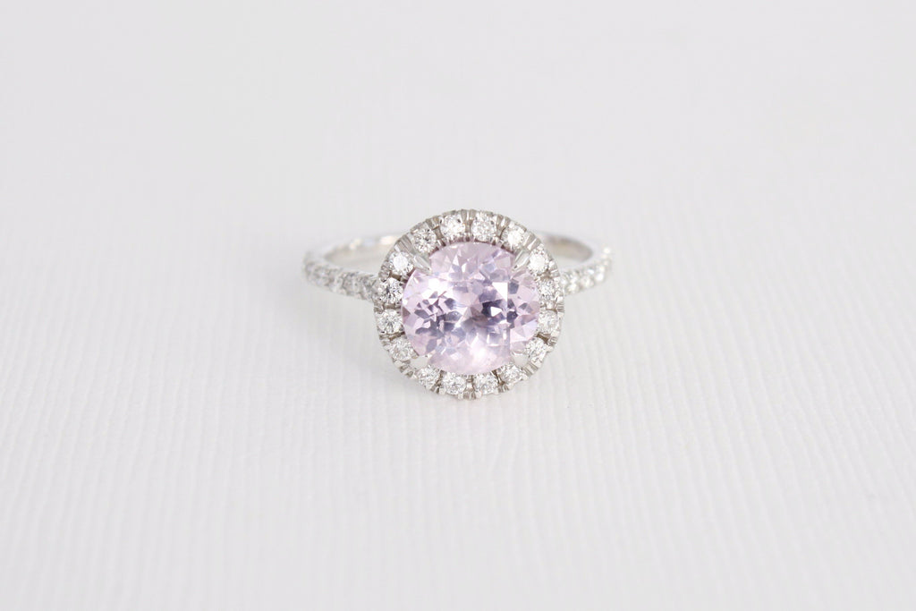 GIA Certified 2.57 Cts. Lavender Sapphire Diamond Halo Ring in 14K White Gold