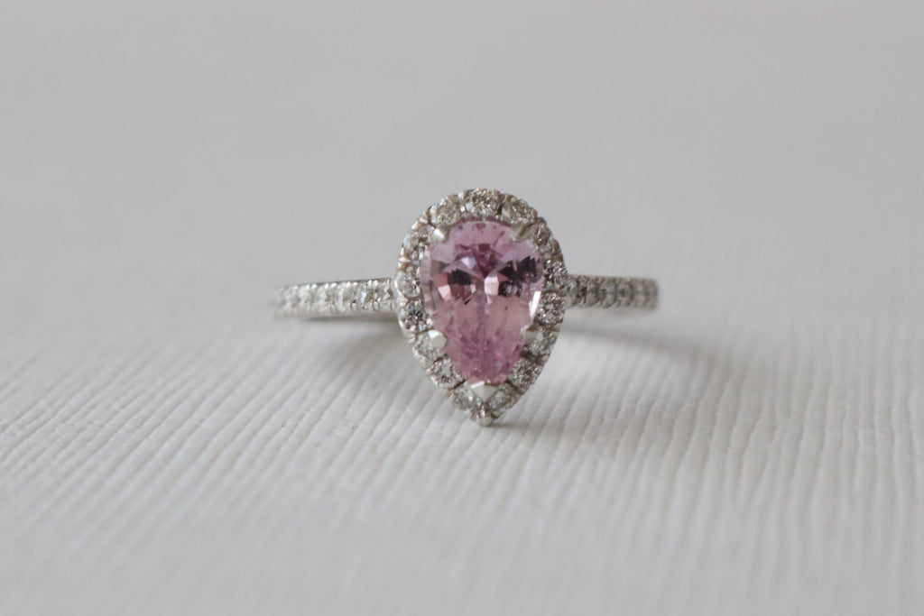 Pear Cut Pink Sapphire Diamond Halo Ring in 14K White Gold