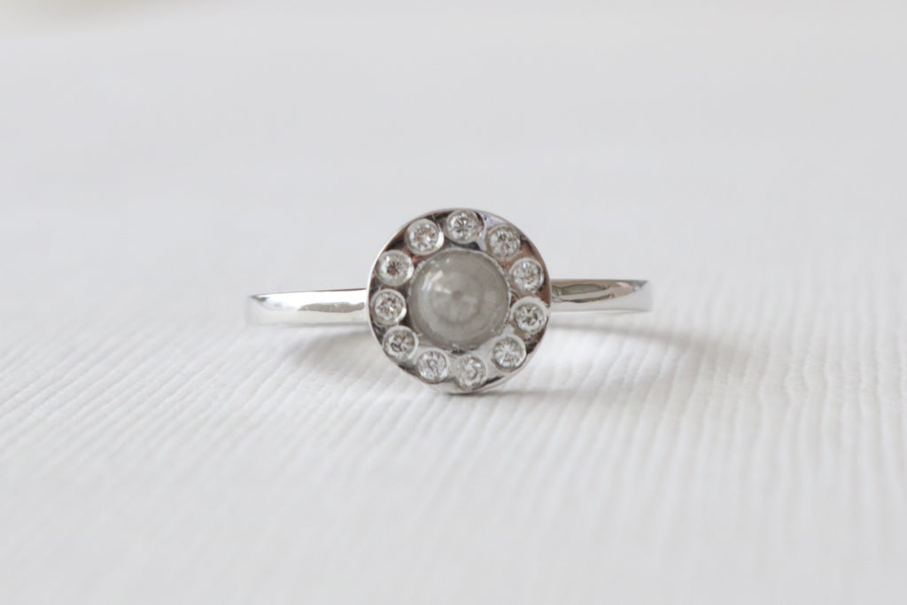 Rose Cut Gray Diamond Bezel Stacking Ring in 14K White Gold