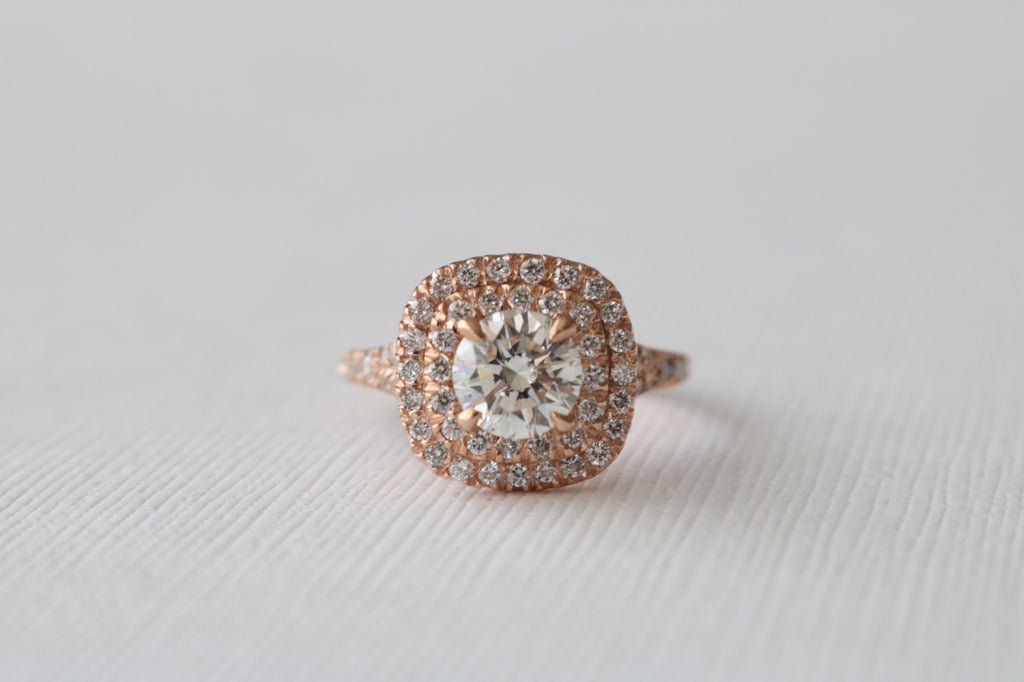 Round Brilliant Cut Diamond Double Halo Ring in 14K Rose Gold