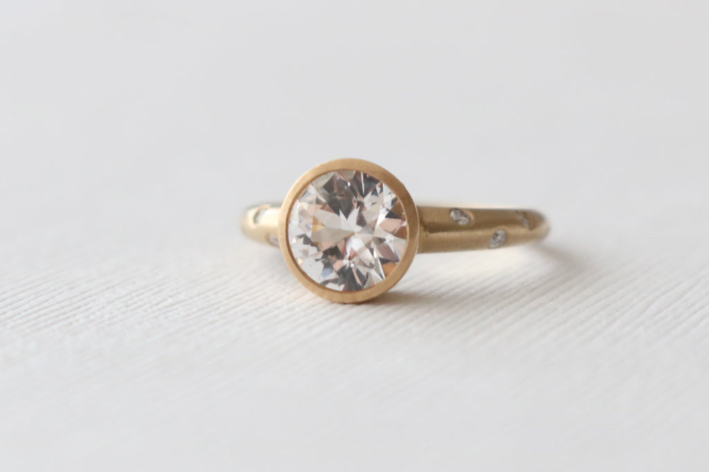White Sapphire Bezel Diamond Engagement Ring in 14K Yellow Gold