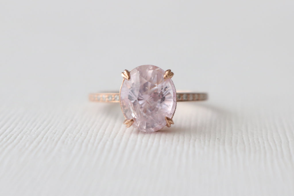 GIA Certified 3.91 Cts. Oval Pink Peach Sapphire Solitaire Engagement Diamond Ring in 14K Rose Gold