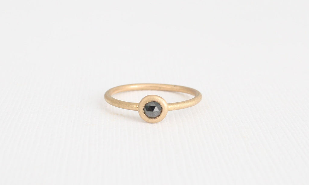 Champagne Brown Rose Cut Diamond Bezel Ring in 14K Yellow Gold
