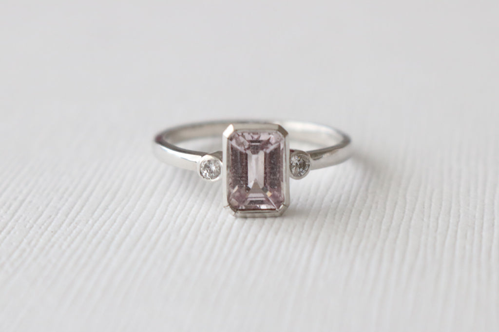 Peach Pink Champagne Emerald Cut Sapphire Diamond Engagement Bezel Ring in 14K White Gold
